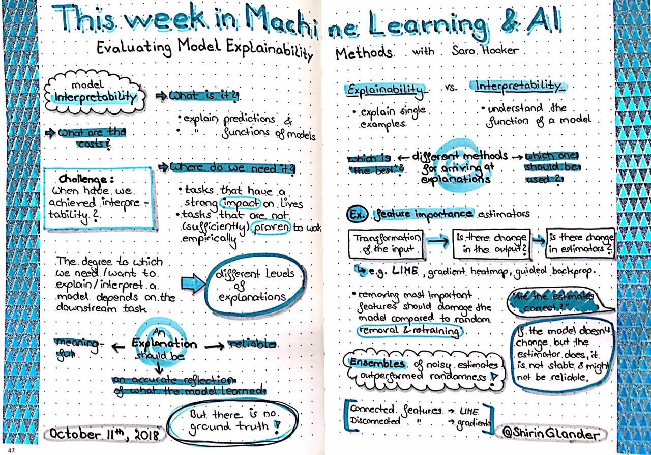 Sketchnotes from TWiML&AI: Evaluating Model Explainability Methods with Sara Hooker