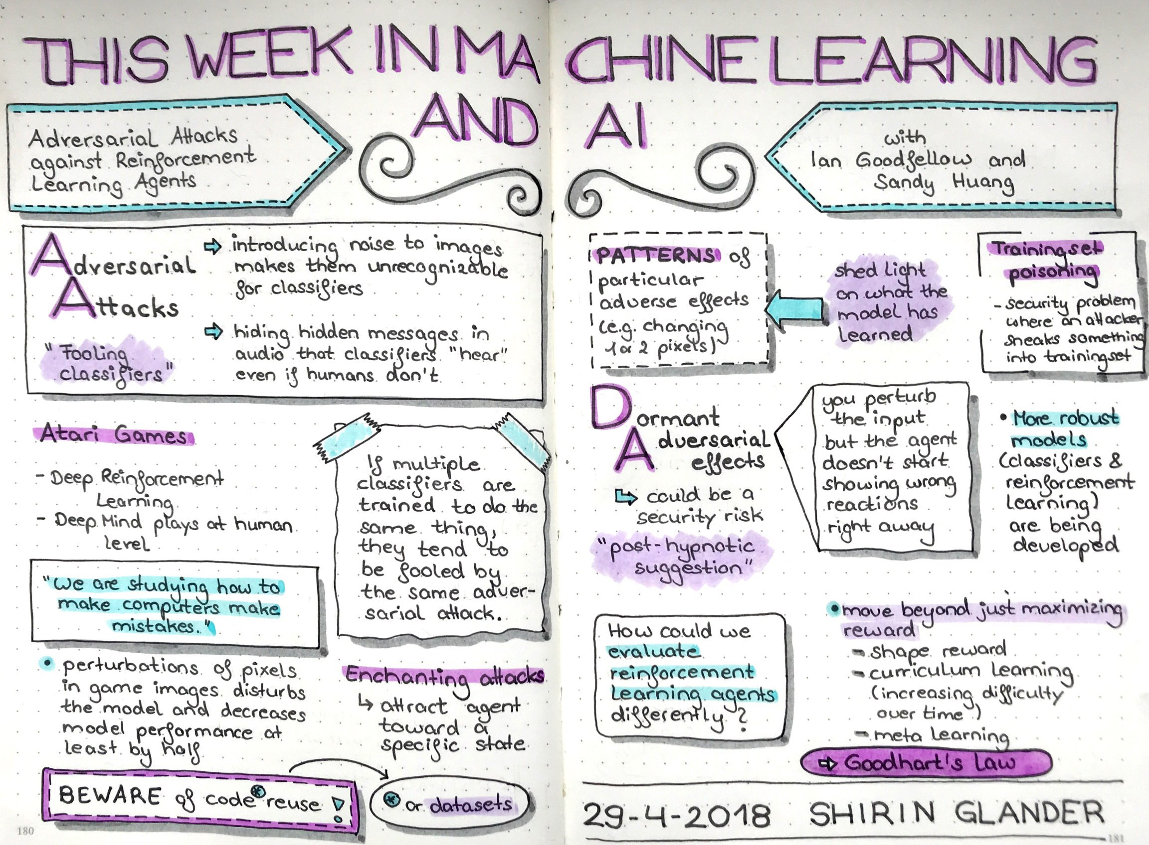 Sketchnotes from TWiML&AI: Adversarial Attacks Against Reinforcement Learning Agents with Ian Goodfellow & Sandy Huang